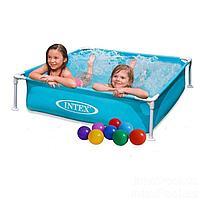 Каркасный бассейн Intex 57173-2, 122 х 122 х 30 см (подстилка, шарики 10 шт.)