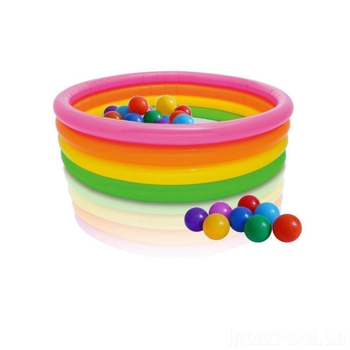 Детский надувной бассейн Intex 56441-1 Радуга, 168 х 46 см, с шариками 10 шт