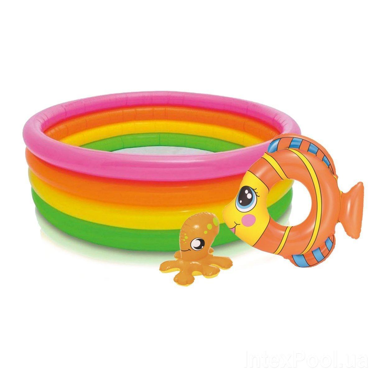 Детский надувной бассейн Intex 56441-2, 168 х 46 см, с кругом, с игрушкой