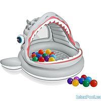 Детский надувной бассейн Intex 57120-1 Пасть акулы, с шариками 30 шт, 201 х 198 х 109 см