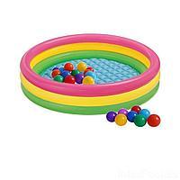 Детский надувной бассейн Intex 57412-1 Радужный, 114 х 25 см, с шариками 10 шт, фото 1