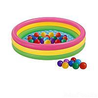 Детский надувной бассейн Intex 57422-1 Цвета заката, 147 х 33 см,  с шариками 10 шт