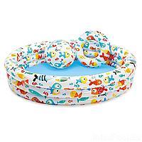 Детский надувной бассейн Intex 59469 Аквариум, 132 х 28 см, с мячом и кругом