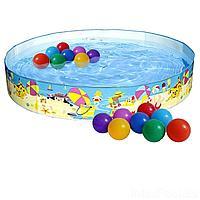 Бассейн детский каркасный Intex 56451-1 Пляж на мелководье, 152 х 25 см, с шариками 10 шт