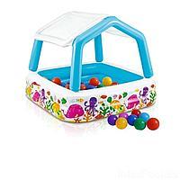 Детский надувной бассейн Intex 57470-1 Аквариум, 157 х 157 х 122 см, со съемным навесом, с шариками 10 шт