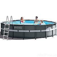 Каркасный бассейн Intex 26334 - 1, 610 х 122 см (лестница, тент, подстилка)