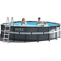 Каркасный бассейн Intex 26334, 610 х 122 см (6 000 л/ч, лестница, тент, подстилка)