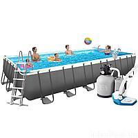 Каркасный бассейн Intex 26368 - 12, 732 х 366 х 132 см (11 г/ч - 10 000 л/ч, набор, лестница, тент, подстилка, сетка)