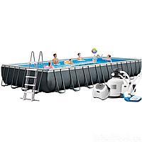Каркасный бассейн Intex 26378 - 16, 975 х 488 х 132 см (150мл/11г/ч, 12 000 л/ч, набор, лестница, тент, подстилка, сетка)