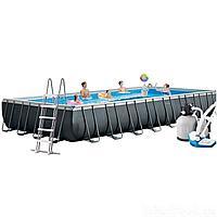 Каркасный бассейн Intex 26378, 975 х 488 х 132 см (11г/ч, 10 000 л/ч, набор, лестница, тент, подстилка)