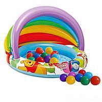 Детский надувной бассейн Intex 57424-1  Винни Пух,  102 х 69 см, c навесом, с шариками 10 шт