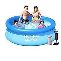 Надувной бассейн Intex 28110 - 4, 244 х 76 см ((2 006 л/ч, подстилка, тент, насос)