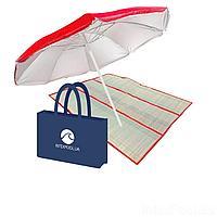 Набор 3 в 1 для пляжа IntexPool 72060-3 (зонт, подстилка, эко - сумка), красный