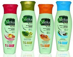 Комплект из 4 шампуней DABUR VATIKA: Исцеление и защита, Против выпадения, Увлажняющий, Для объема, 4 шт. по 200 мл.