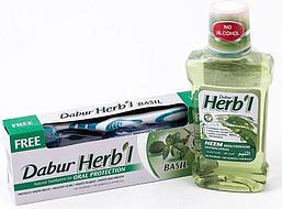 Комплект Базилик и ним. Антибактериальный: зубная паста с базиликом и ополаскиватель для полости рта с нимом от DABUR HERBL