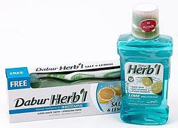 Комплект Соль и лимон. Отбеливающий: зубная паста и ополаскиватель для полости рта DABUR HERBL с солью и лимоном