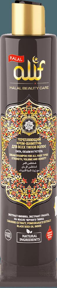 Укрепляющий крем-шампунь ALIF для всех типов волос «Сила, объем и густота», 350 мл.
