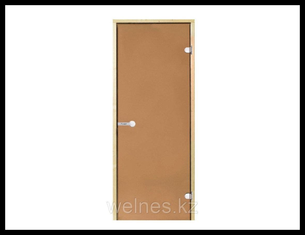 Дверь для бани Harvia STG, 8x19 (короб - сосна, стекло - бронза, ручка - защелка)