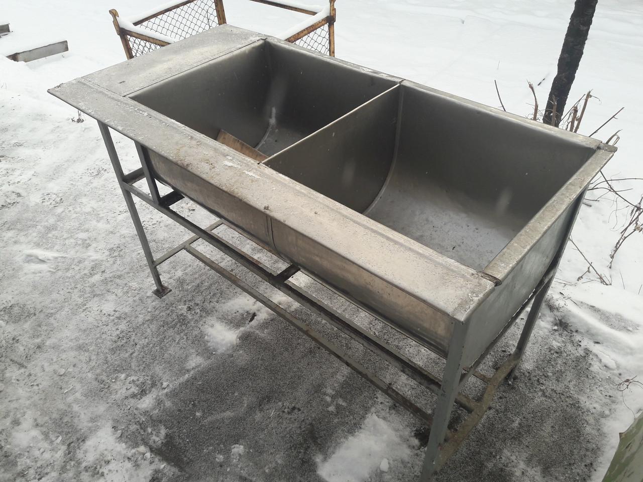 Ванна моечная 2-х секционная из толстой нерж. бу