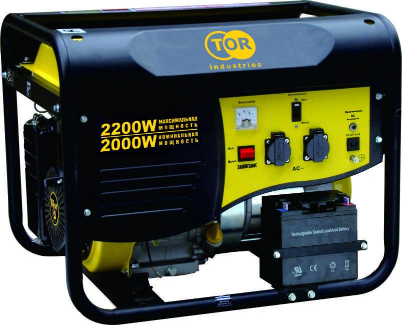 Генератор бензиновый TOR TR2500E 2,0кВт 220В 15л с кнопкой запуска