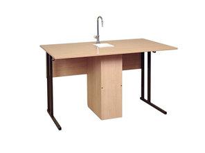Стол лабораторный с сантехникой, прямоугольная труба, пластиковая столешница (СТХпр/пл (т))