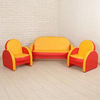 Комплект мягкой мебели 'Агата', цвет красно-жёлтый