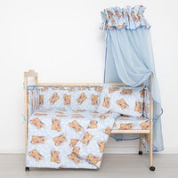 Комплект в кроватку 'Спящие мишки' (7 предметов), цвет голубой 715/1