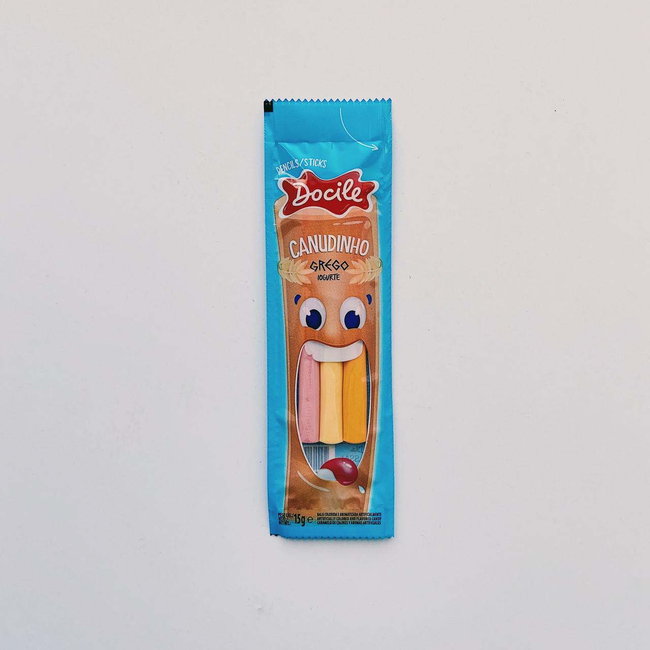 Мармеладные Палочки разноцветные Йогурт  Docile Canudihno (12 шт в упаковке) (синие без сах)