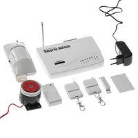 Охранный GSM комплект сигнализаций, модель SEC-01, 4-проводных и 6-беспроводных зон, белый