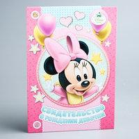 Свидетельство о рождении 'Минни малышка', Минни Маус, размер файла 21 x 29,7 см Disney (новый формат