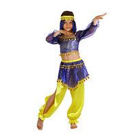 Карнавальный костюм 'Восточная красавица. Шахерезада', топ с рукавами, штаны, повязка, цвет сине-жёлтый, р-р 32, рост 122-128 см