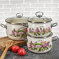 """Набор эмалированной посуды из 3-х кастрюль, (2,5 л,3,5 л, 5 л) i1600 """"Ветка сирени/Lilac"""" I1600lilac"""