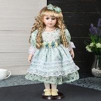 Кукла коллекционная керамика 'Леночка в нежно-зелёном платье в горошек' 40 см