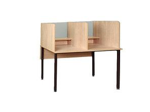 Стол для лингафонного кабинета со стеклом, круглая труба (СТЛ.01ст)
