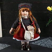 Кукла коллекционная керамика 'Настенька в свитере и вязаной шапке с сумочкой' 30 см