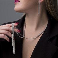 Набор 2 предмета серьги, кулон 'Элегантность' кисточки, цвет белый в серебре, 100 см