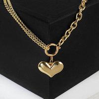 Кулон 'Цепь' сердечко на кольце, цвет золото, 50см