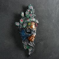 Венецианская маска 'Павлин' цветной 35см
