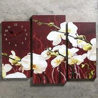 Часы настенные модульные 'Белые орхидеи', 60 x 80 см