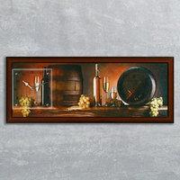 Часы-картина настенные, серия Интерьер, 'Винные бочки', 35х100  см, микс