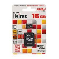 Карта памяти Mirex microSD, 16 Гб, SDHC, UHS-I, класс 10, с адаптером SD