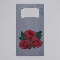 Пакет 'Розы', полиэтиленовый, майка, 28 х 55 см, 35 мкм (комплект из 50 шт.)