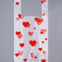 Пакет 'Сердечки', полиэтиленовый, майка, 25 х 45 см, 13 мкм (комплект из 100 шт.)