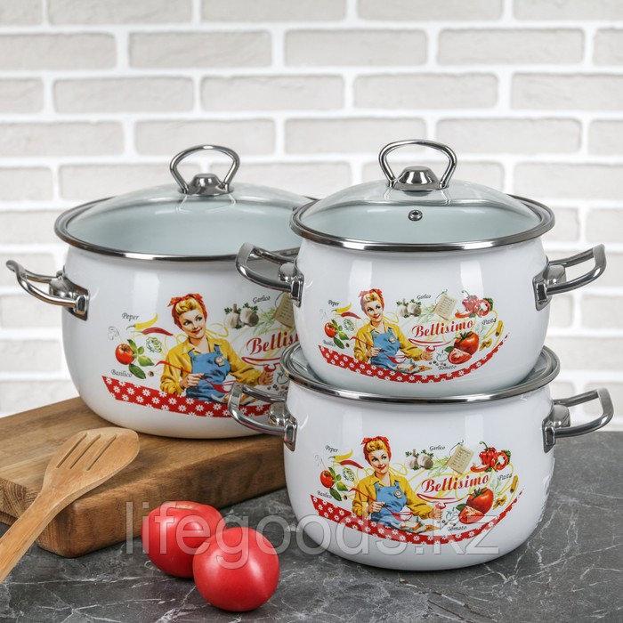 """Набор эмалированной посуды из 3-х кастрюль,(2,5 л,3,5 л, 5 л) i1600 """"Беллисимо"""""""