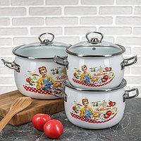 """Набор эмалированной посуды из 3-х кастрюль,(2,5 л,3,5 л, 5 л) i1600 """"Беллисимо"""" I1600белли"""