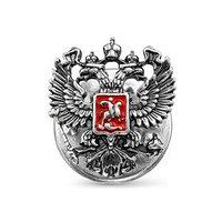 Значок 'Герб РФ' малый, посеребрение с оксидированием