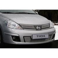 Декоративные элементы решетки радиатора радиатора d10, 2 элемента по 6 трубочек, Nissan Tiida 2004-,