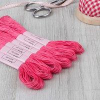 Нитки мулине, 8 ± 1 м, цвет ярко-розовый 956 (комплект из 12 шт.)