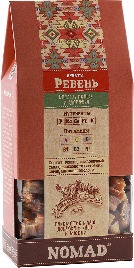 Натуральные цукаты из Ревеня ,150 гр