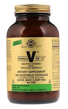 Solgar, Формула V, VM-75, мультивитамины и хелатные формы минералов, 120 капсул